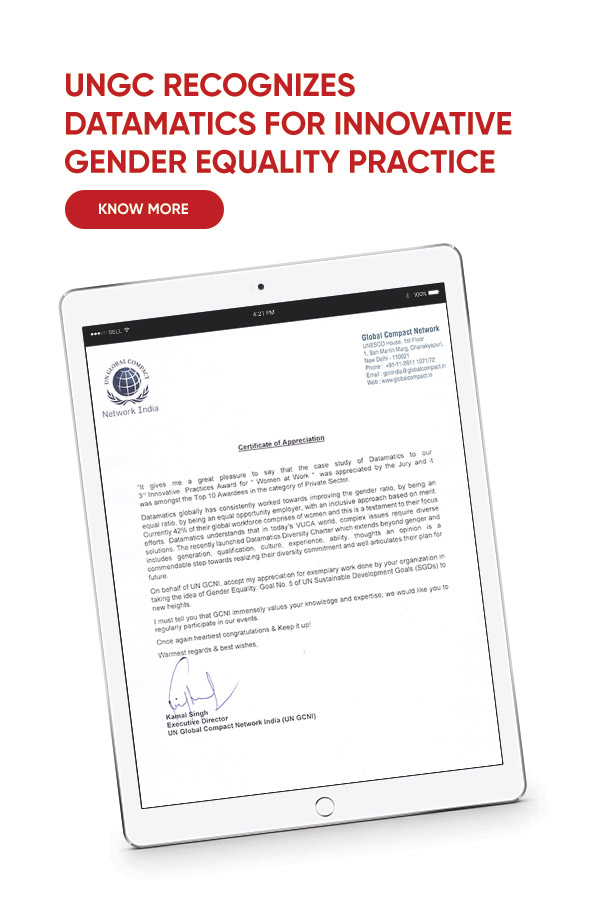 UNGC Recognizes Datamatics For Innovative Gender Equality Practice